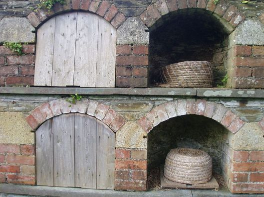 These Bee-boles are part of a large wall with 15 vaulted chambers to house bees - the forerunner of modern beehives - bees were very important to gardens as they pollinated the plants and supplied honey and wax.