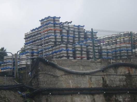 Beer kegs waiting to be delivered