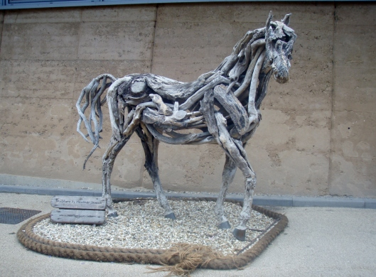 This much-loved life-size horse was created using smooth bits of wood found on the beach by artist Heather Jansch, who is renowned for her driftwood sculptures.