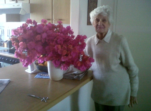 June with her Bougainvillea Vase created from pruning