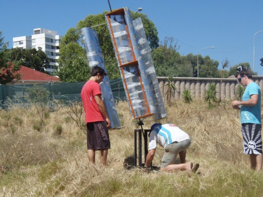 Trying to harness the power of the wind to pump water. The wind proved too strong for this.