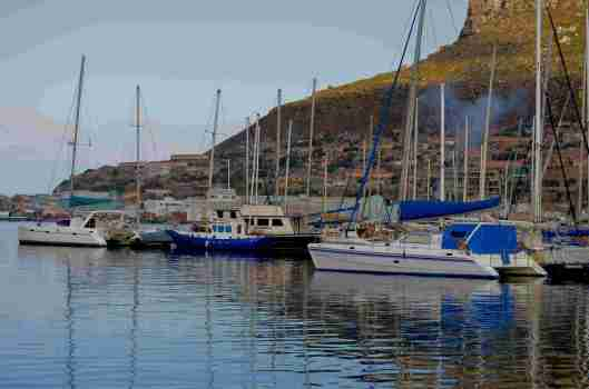 Yachts lying in the sheltered harbour